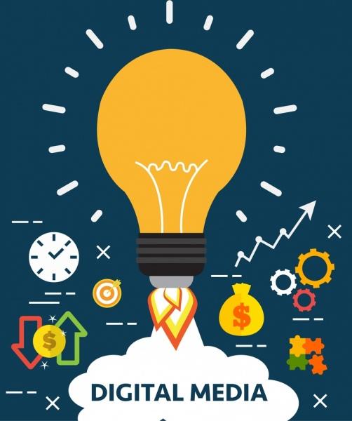idea concept background lightbulb rocket business icons decor