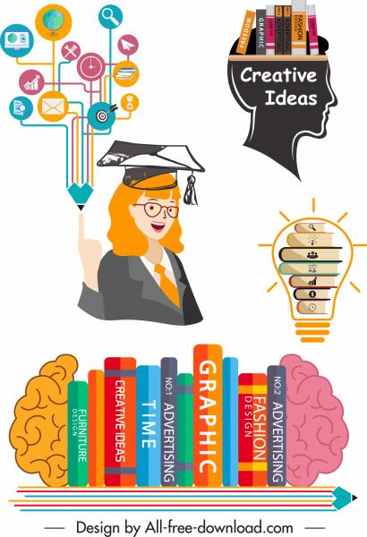 idea concept design elements book brain lightbulb sketch