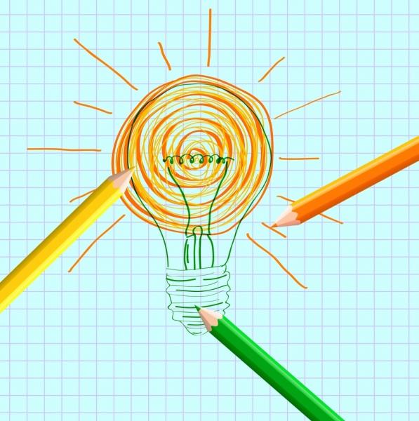 idea concept design hand drawn bulb decoration
