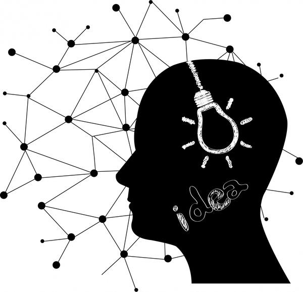 idea concept design head lightbulb and silhouette style