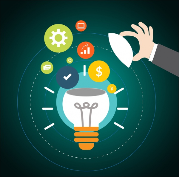 idea concept design open lightbulb and symbols decoration