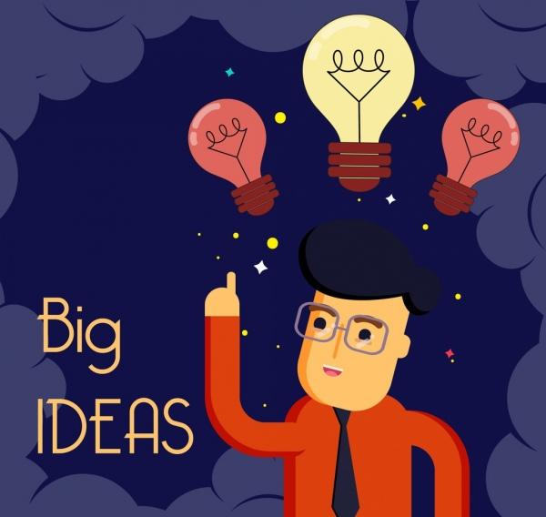 idea conceptual background man lightbulbs icons cartoon character