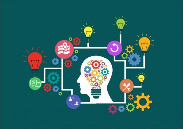 idea creation infographic human head bulbs gears decoration