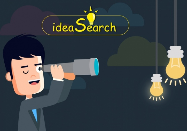 idea search drawing man using binoculars lightbulb icons