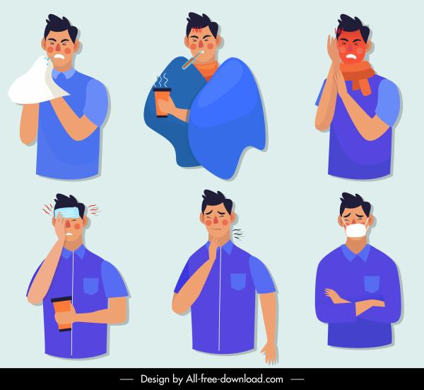 illness man icons symptom sketch cartoon characters