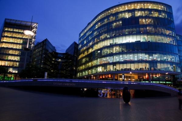 illuminated office building