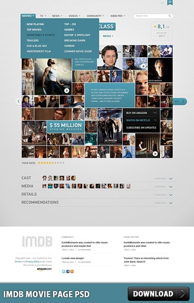 IMDB Movie Page Free PSD