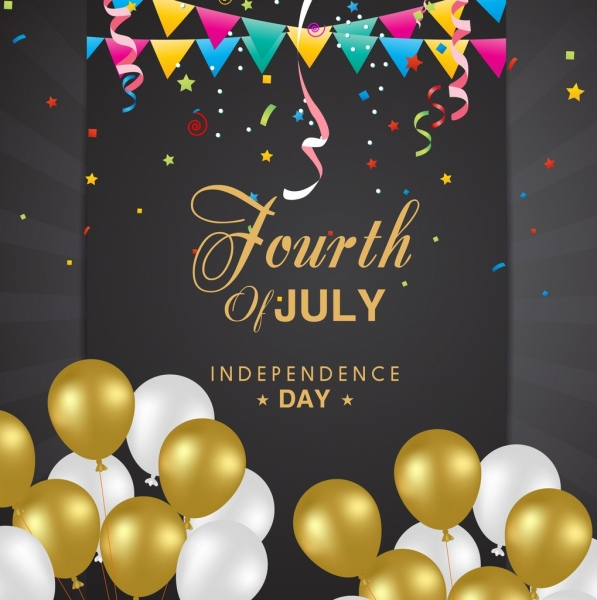 independence day banner yellow white balloons ribbons decor