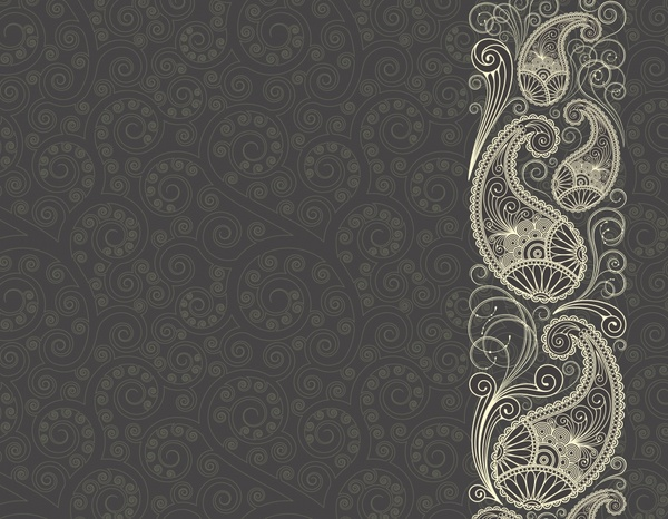 India Background: Traditional Pattern Retro Flowers Icons Curves Ornament