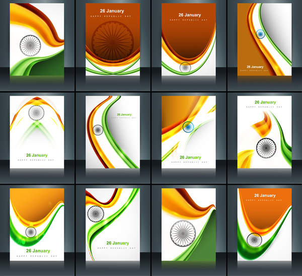 Indian flag brochure stylish wave template collection illustration ...