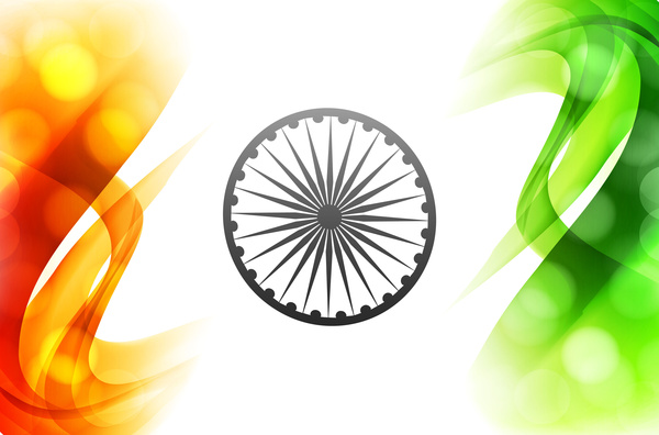 Creative Watercolor Indian Flag Background For Indian: Indian Flag Stylish Wave Illustration For Independence Day