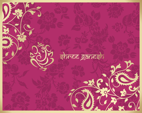 indian floral ornament with pink background vector