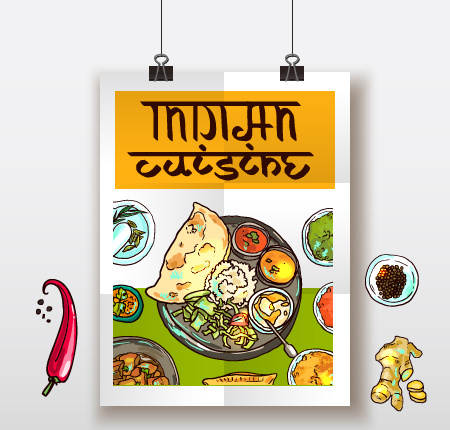 Indian food poster hand drawn vector free vector in encapsulated indian food poster hand drawn vector free vector 156mb forumfinder Images