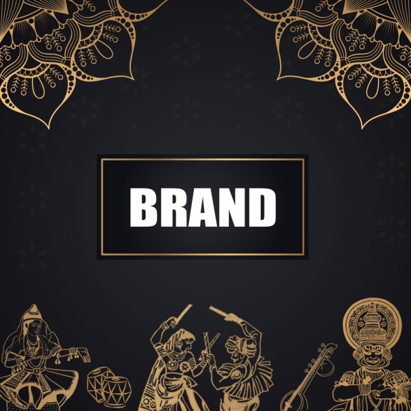 indian traditional designswith gold and black with mandala