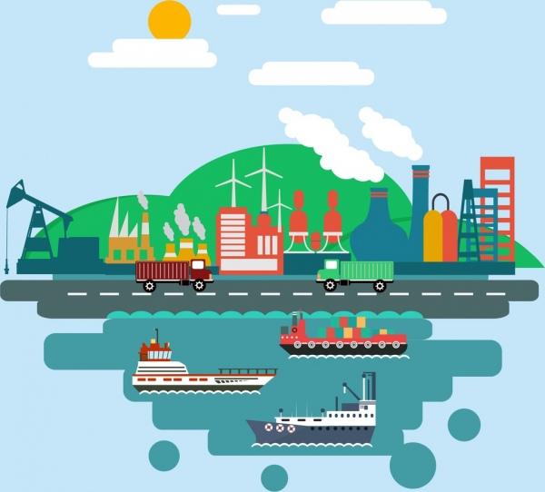 industrial design elements port plant and trucks design