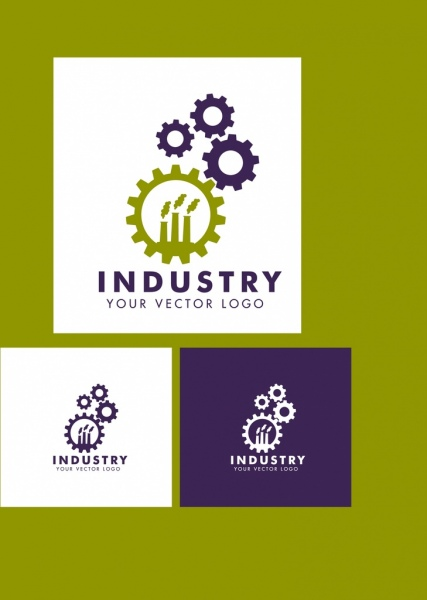 industrial logotype sets gear and plants icons design