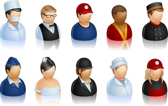 human icon careers theme shiny colored 3d sketch