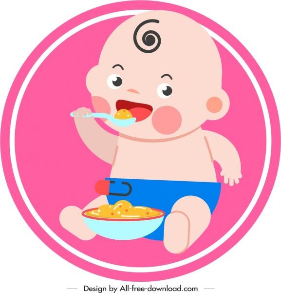 infant baby icon eating gesture cute cartoon sketch