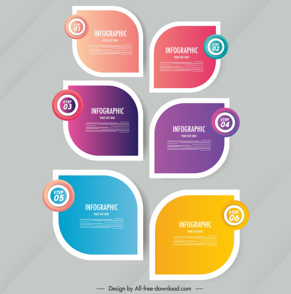 infographic decor elements modern colorful flat rounded shapes