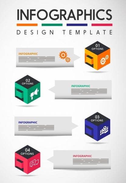 infographic design elements 3d colorful cubes icons