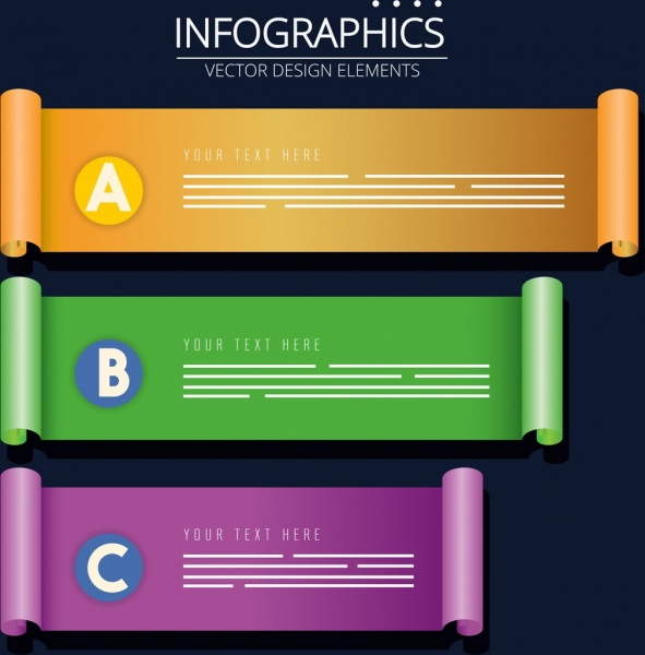 infographic design elements colorful 3d rolled sheet icons