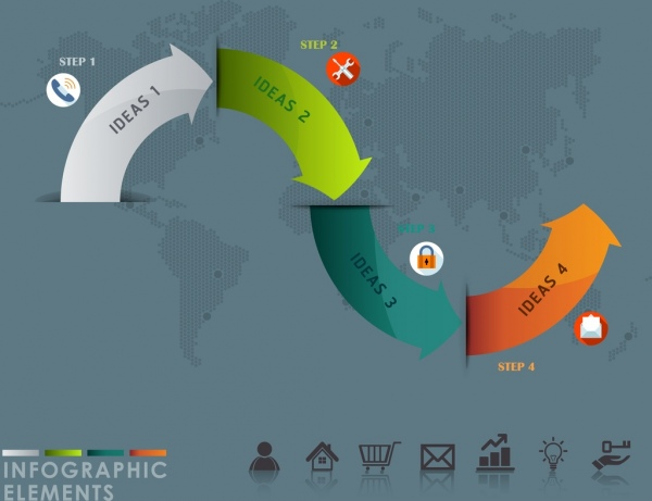 infographic design elements colorful curved arrows design