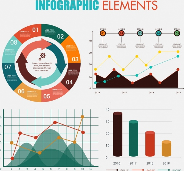infographic design elements multicolored column round line type