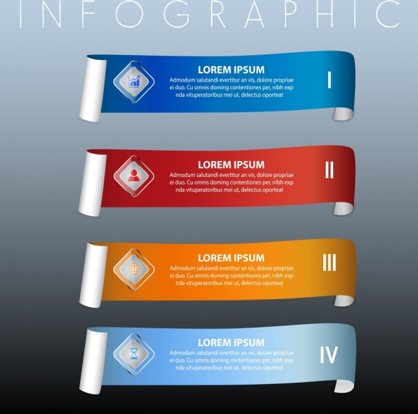 infographic design elements multicolored horizontal roll decor