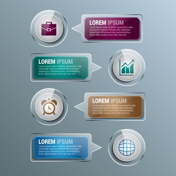 infographic design elements shiny speech baubles style