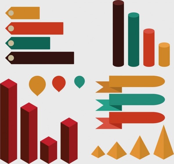 infographic design elements various chart types ornament