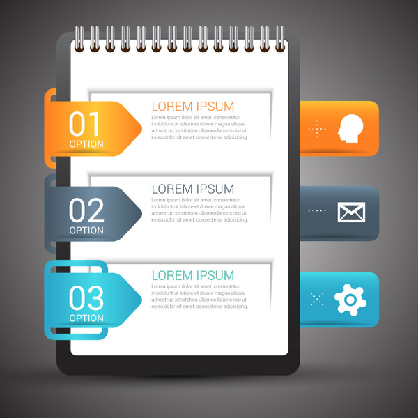 infographic design with open note book background