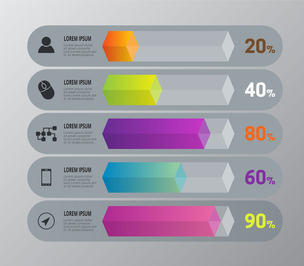 infographic diagram design with horizontal cubes and percentage