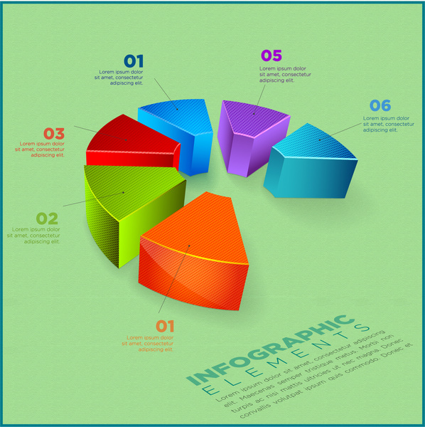 Infographic Elements Design With 3d Cut Pie Chart Free Vector In
