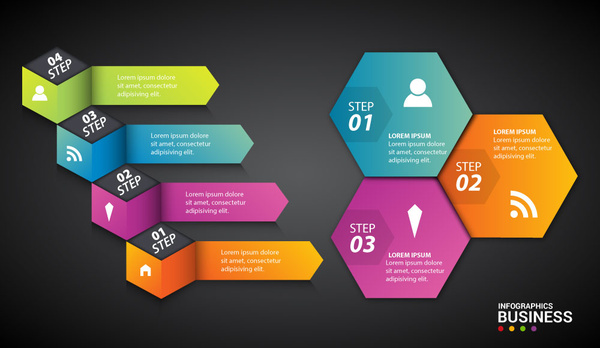 infographic sets with colorful geometric and 3d shapes