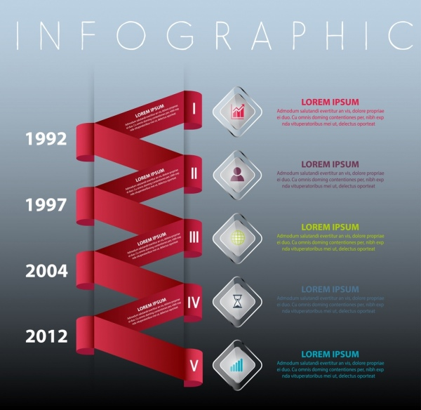 infographic template 3d red twisted ribbon modern design