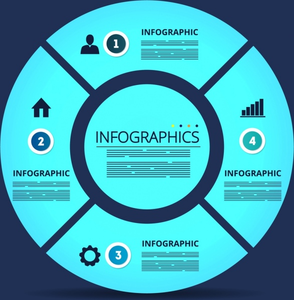 infographic template blue flat circle decor