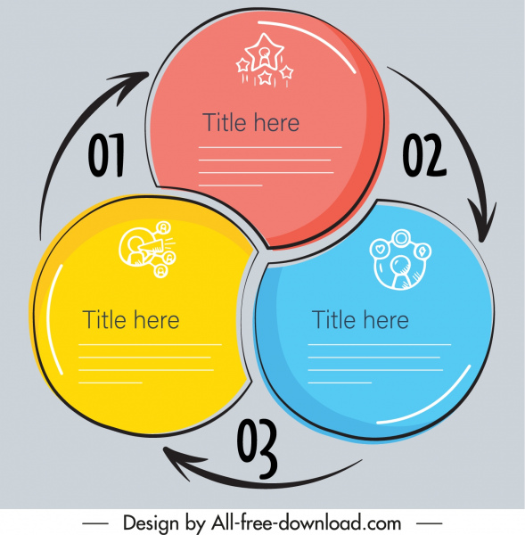 infographic template circles combination arrows sketch flat design