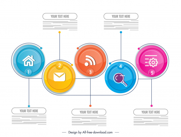 infographic template colorful bright ui circles sketch
