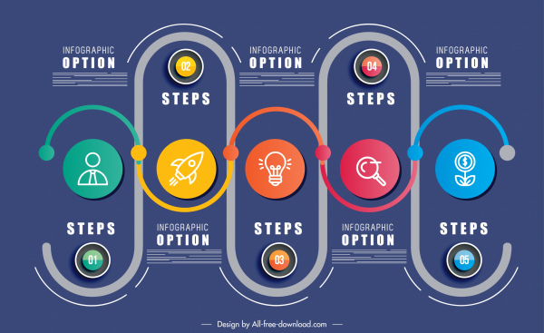 infographic template colorful flat symmetric rounds curves decor