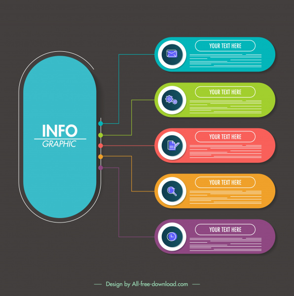 infographic template colorful flat vertical horizontal shapes