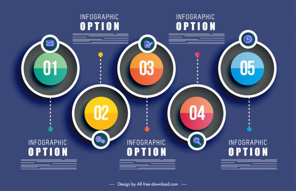 infographic template colorful modern flat symmetric circles decor