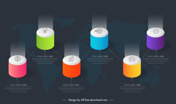 infographic template colorful shiny 3d circle pillar sketch
