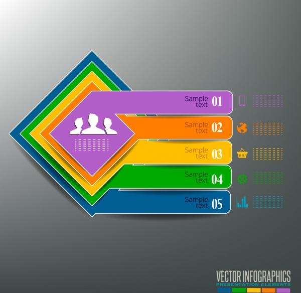 infographic template colorful squares horizontal bars decor