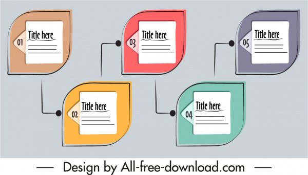 infographic template flat classical handdrawn shapes