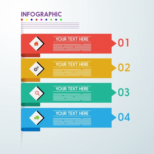 infographic template horizontal colorful arrows style