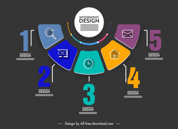 infographic template modern colorful dark section chart sketch