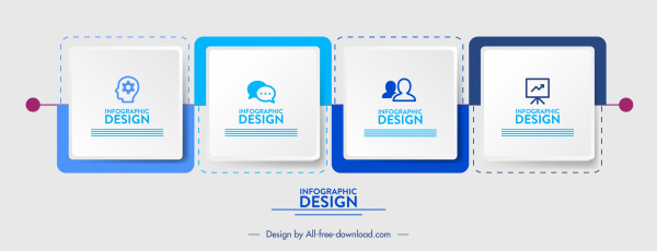 infographic template modern squares connection sketch