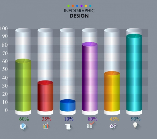 infographic template round bars chart colorful 3d decor