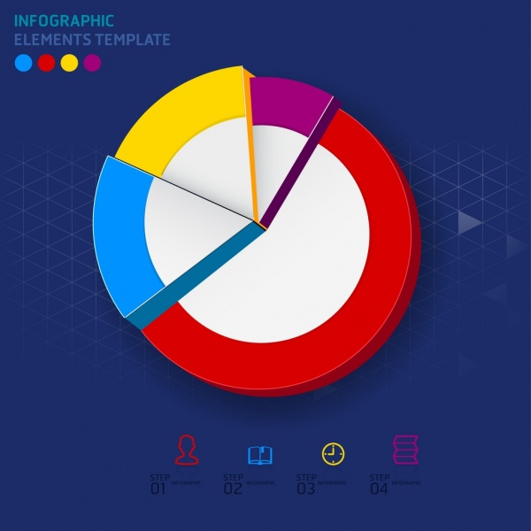 infographic template round pipe chart colorful 3d decor