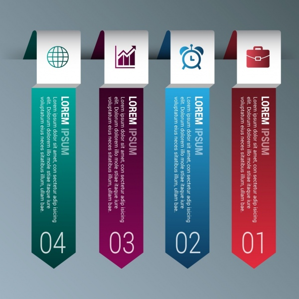 infographic template sets colorful vertical arrows design